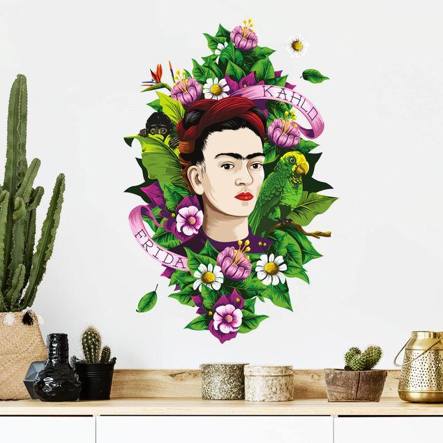 Wandtattoo - Frida Kahlo - Frida, Äffchen und Papagei
