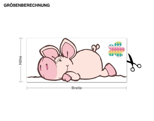 Wandtattoo Good Luck Pig liegend