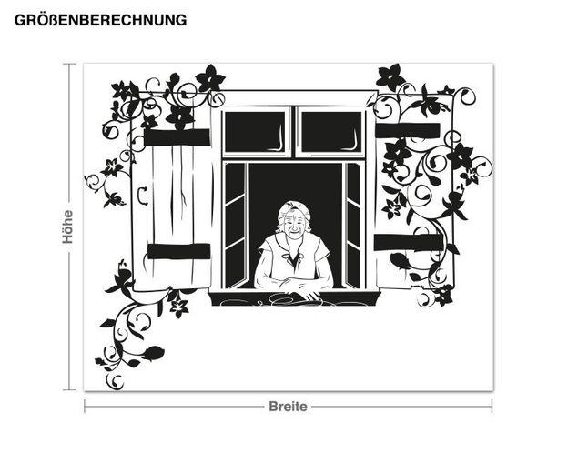 Wandtattoo Großmutter am Fenster