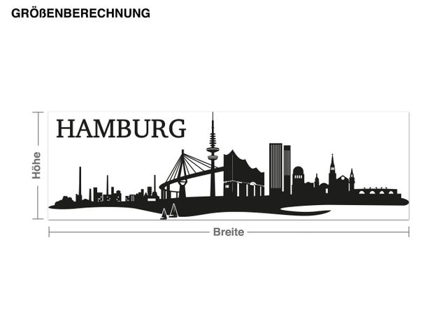 Wandtattoo Hamburg-Skyline