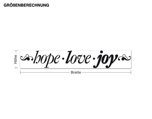 Wandtattoo Hope Love Joy
