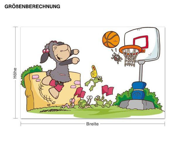 Wandtattoo Jolly Lucy beim Basketball