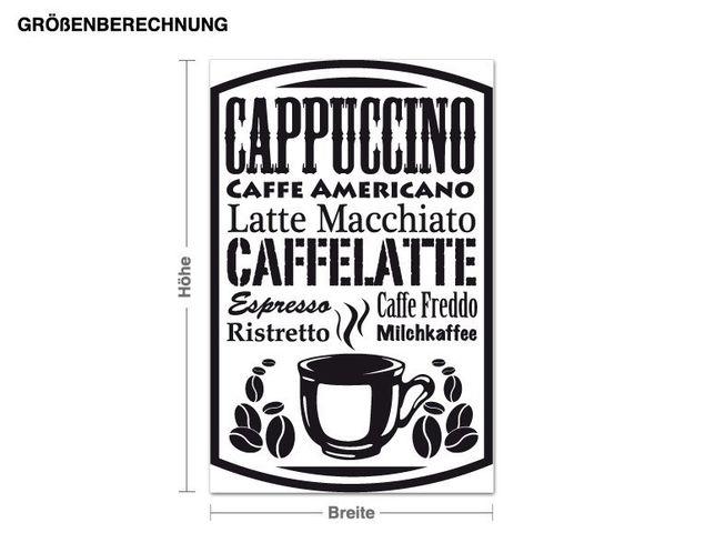 Wandtattoo Kaffee Varianten