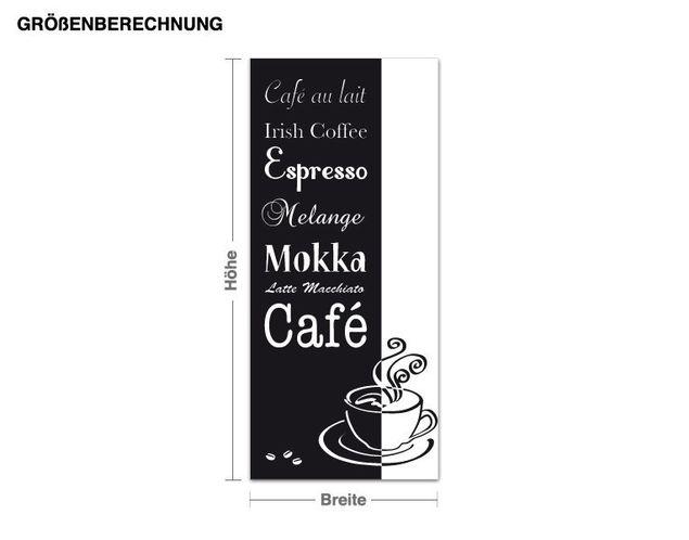 Wandtattoo Kaffee - verschiedene Sorten