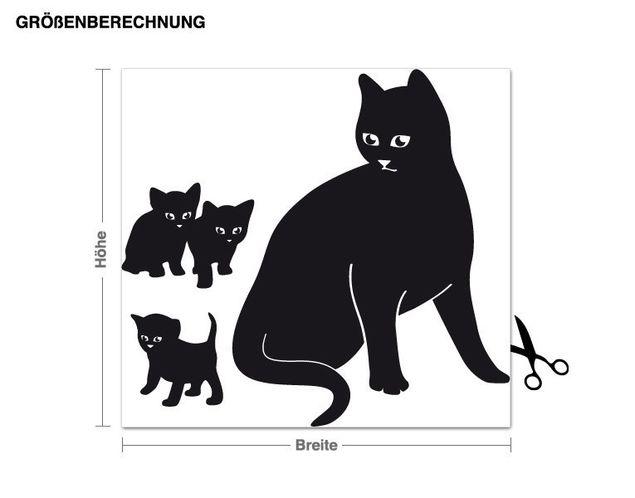 Wandtattoo Katzenfamilie