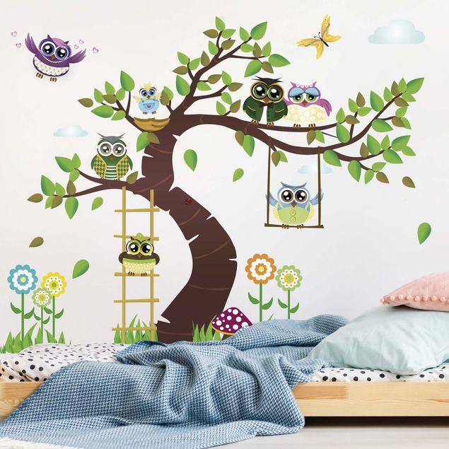 Wandtattoo Kinderzimmer Eule No.YK23 Lustiger Eulenbaum