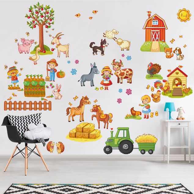 Wandtattoo Kinderzimmer Großes Bauernhof-Set
