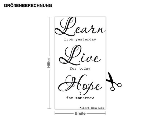 Wandtattoo Learn, Live, Hope