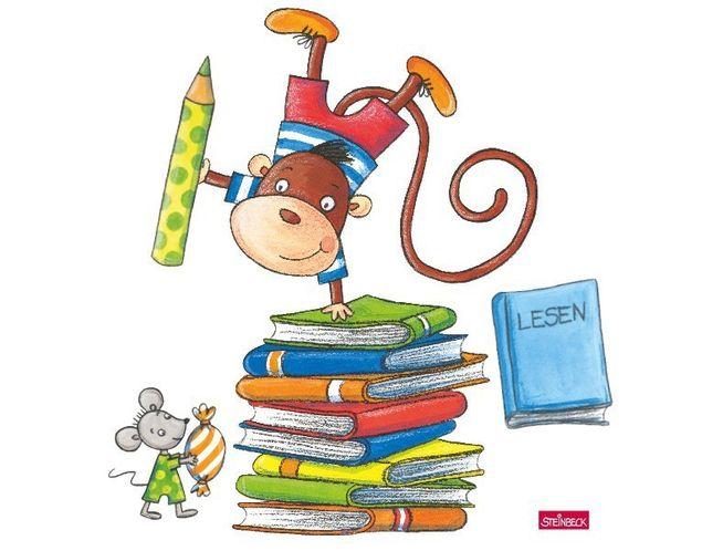 Wandtattoo Lesespaß mit Affe und Maus