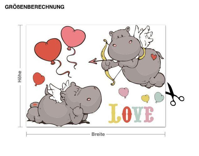 Wandtattoo Love Hippos