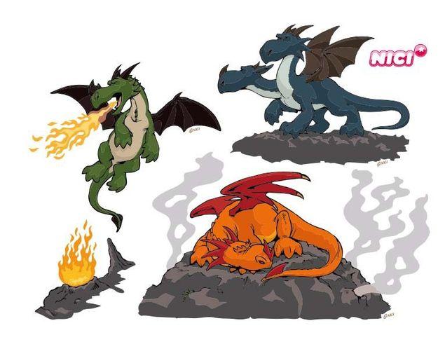 Wandtattoo Drachen Feuer
