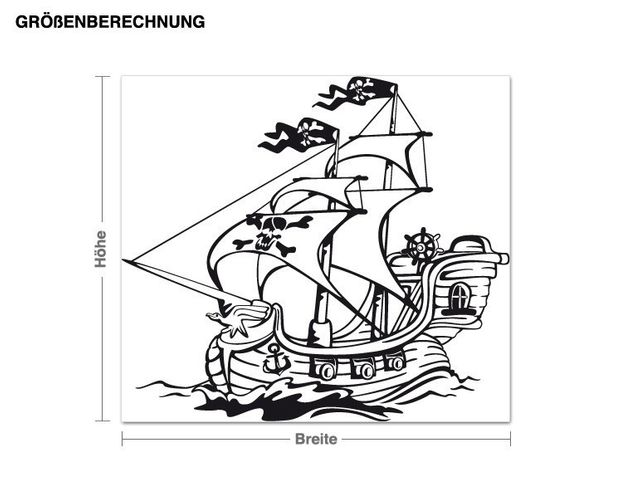 Wandtattoo Piratenschiff
