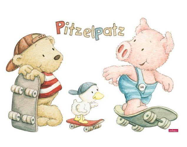 Wandtattoo Pitzelpatz und seine Freunde skaten