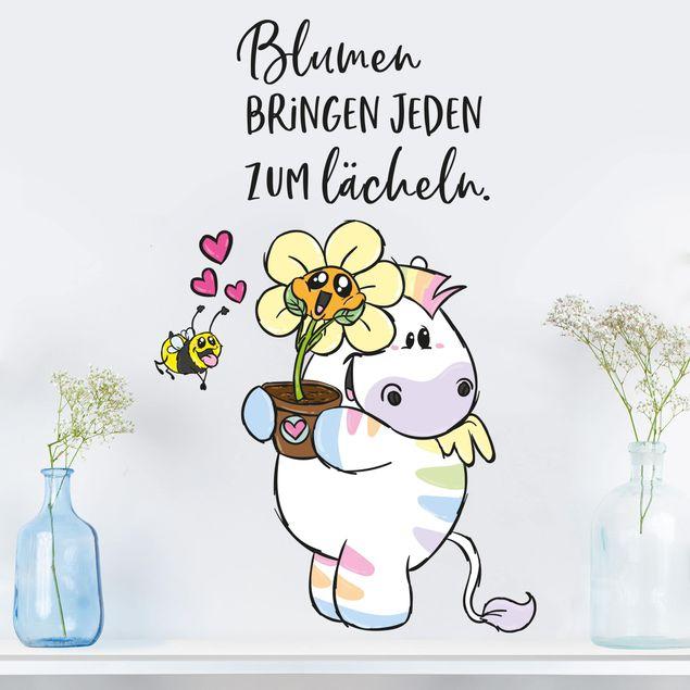 Wandtattoo - Pummeleinhorn - Zebrasus Blumen