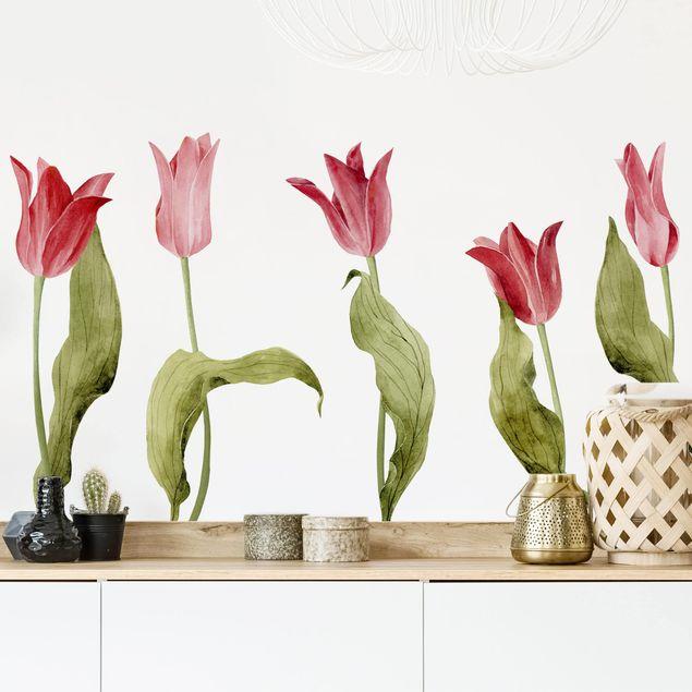 Wandtattoo Rote Aquarell Tulpen