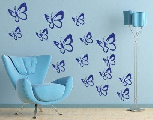 Wandtattoo Schmetterlingsschwarm Set