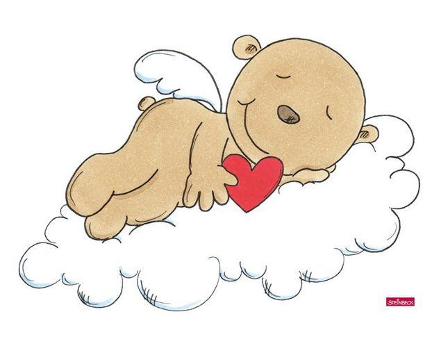 Wandtattoo Schutzengel schläft mit Herz