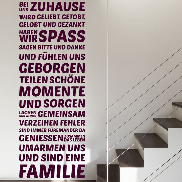 Wandtattoo Spruch - Bei uns Zuhause - Wandspruch