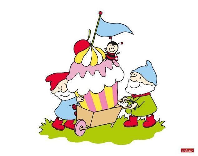 Wandtattoo Steinbeck Zwerge tragen Cupcake