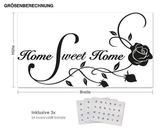 Wandtattoo Sweet Home inkl. 3x 15 Swarovski® Kristalle