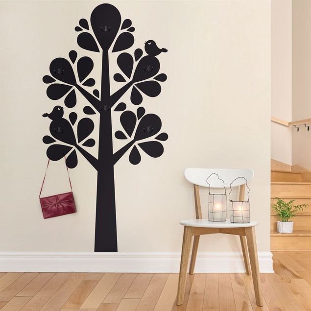 Wandtattoo Wald einfarbig - Baum No.YK75 Abstrakter Baum mit großen Tropfenblättern