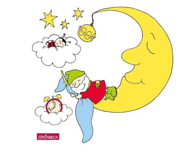 Wandtattoo Zwerg schläft auf dem Mond