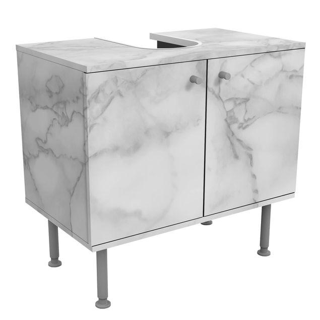 Waschbeckenunterschrank - Marmoroptik Schwarz Weiß - Badschrank