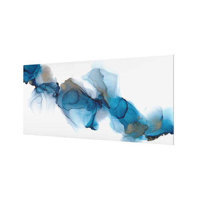 Spritzschutz Glas - Weg des Windes Blau und Gold - Querformat 2:1