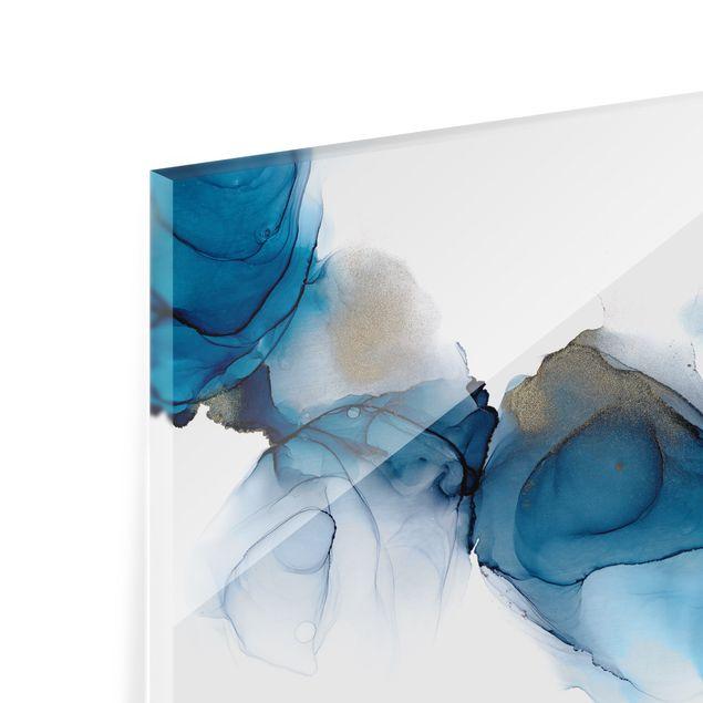 Spritzschutz Glas - Weg des Windes Blau und Gold - Querformat 3:2