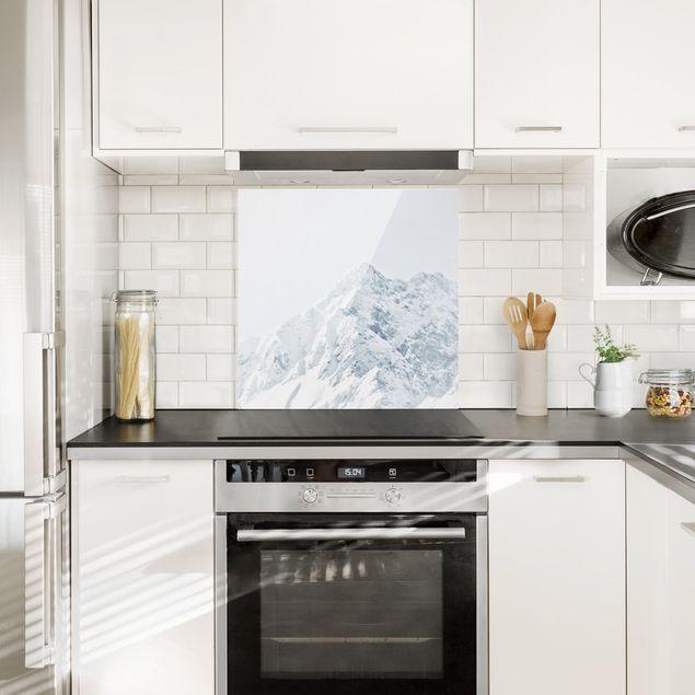 Spritzschutz Glas - Weiße Berge - Quadrat 1:1