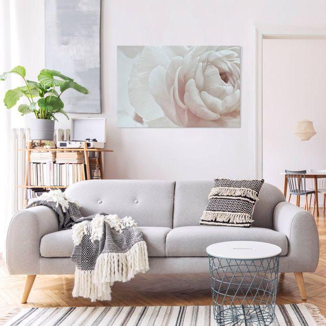 Leinwandbild - Weiße Blüte im Blütenmeer - Querformat 3:2