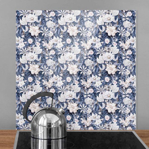 Spritzschutz Glas - Weiße Blumen vor Blau - Quadrat 1:1