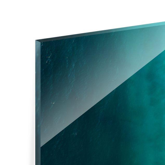 Spritzschutz Glas - Weißer Sandstrand mit Strohschirmen - Querformat 3:2