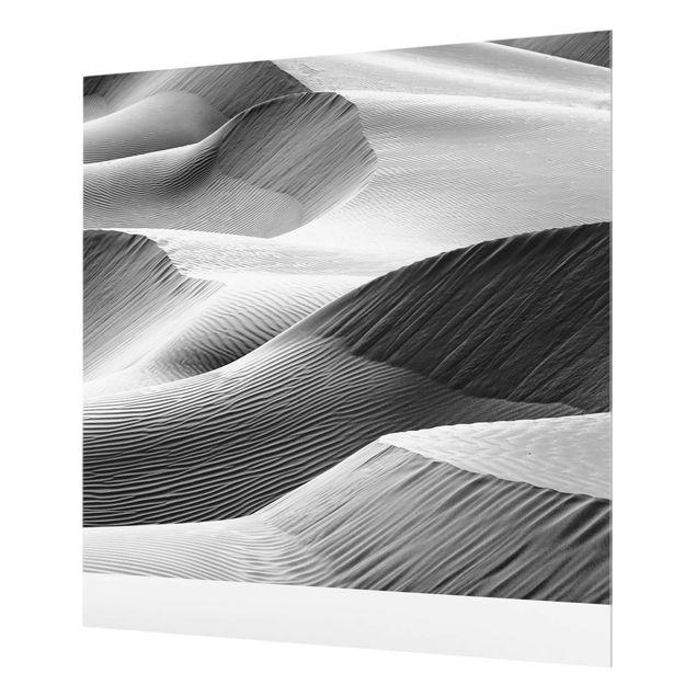 Spritzschutz Glas - Wellenmuster im Wüstensand - Quadrat 1:1