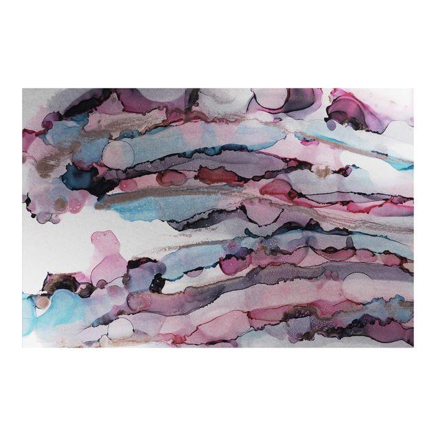 Metallic Tapete - Wellenreiten in Violett mit Roségold