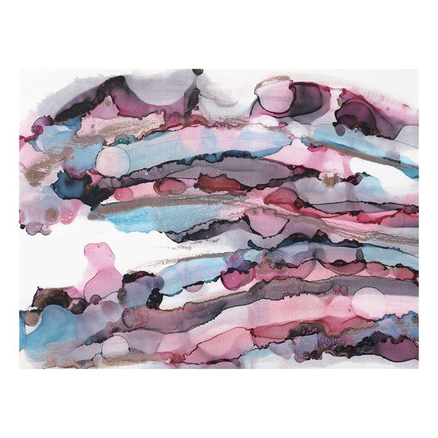 Spritzschutz Glas - Wellenreiten in Violett mit Roségold - Querformat 4:3