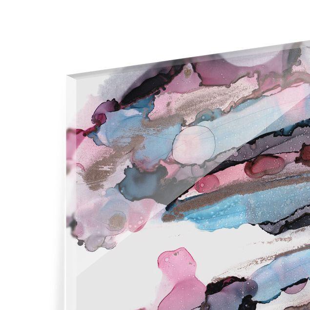 Spritzschutz Glas - Wellenreiten in Violett mit Roségold - Querformat 3:2