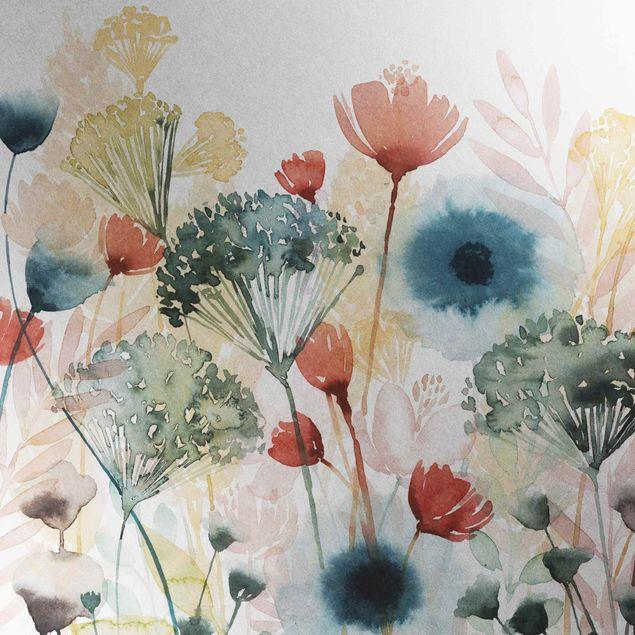 Metallic Tapete  - Wildblumen im Sommer I