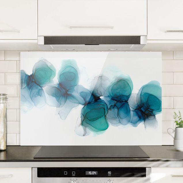Spritzschutz Glas - Wilde Blüten in Blau und Gold - Querformat 3:2