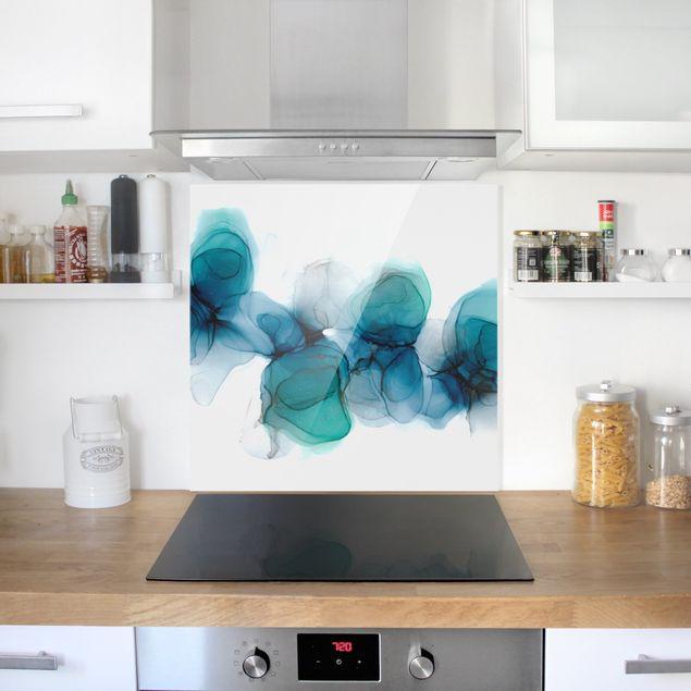 Spritzschutz Glas - Wilde Blüten in Blau und Gold - Quadrat 1:1