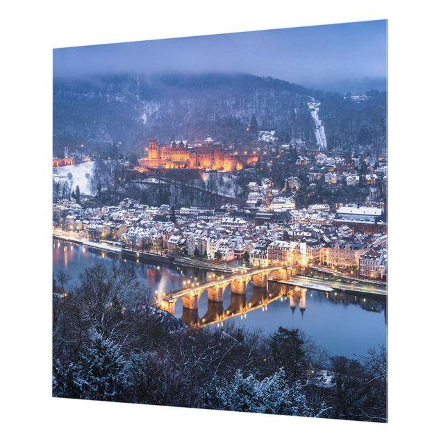 Spritzschutz Glas - Winterliches Heidelberg - Quadrat 1:1