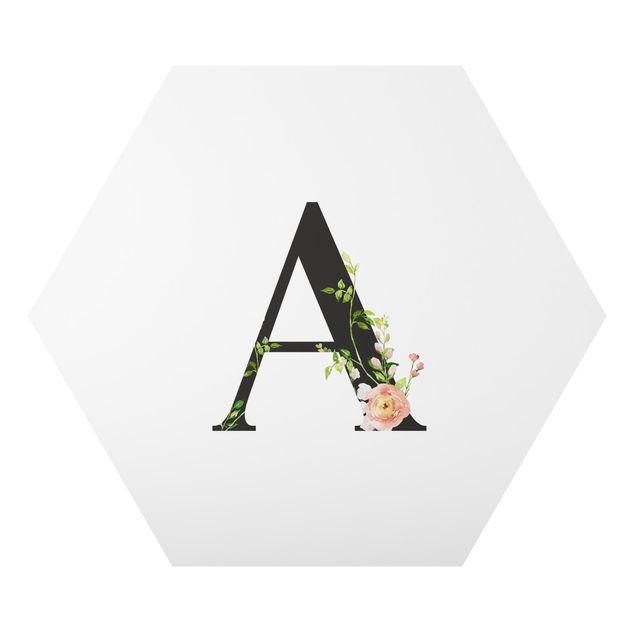 Hexagon-Forexbild - Wunschbuchstabe Aquarell Blumen
