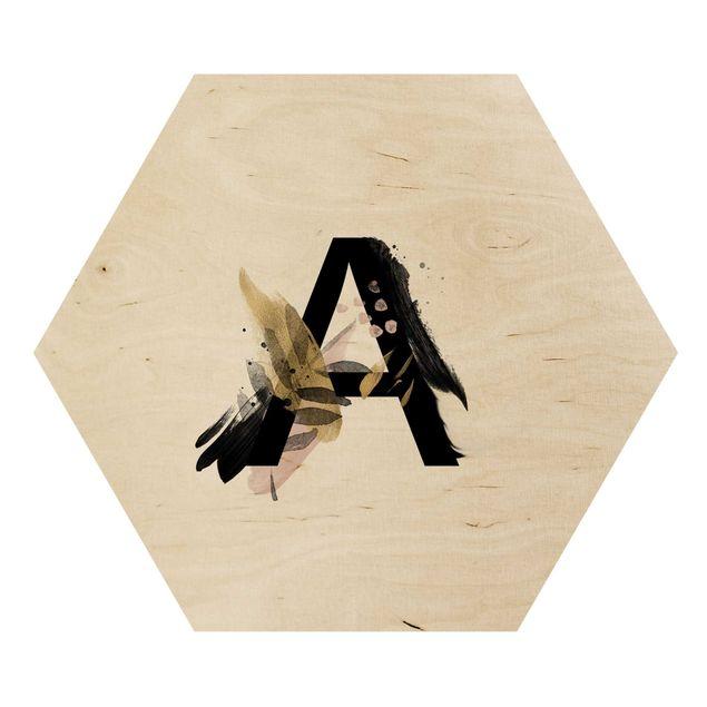 Hexagon-Holzbild - Wunschbuchstabe Aquarell