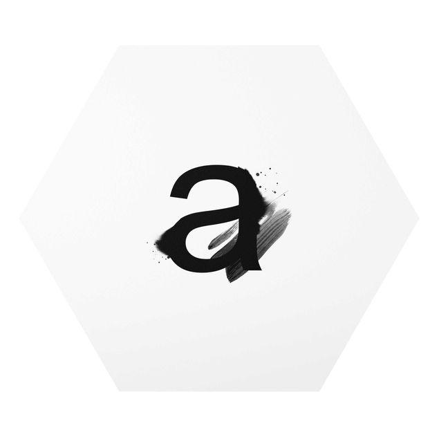 Hexagon-Forexbild - Wunschbuchstabe Aquarell Schwarz