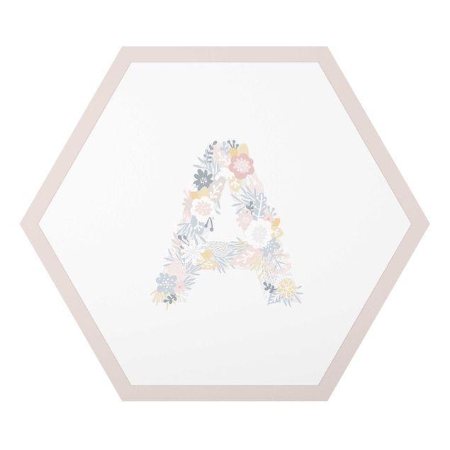Hexagon-Alu-Dibond Bild - Wunschbuchstabe Blumen Pastell