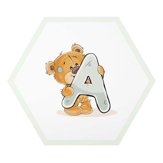 Hexagon-Alu-Dibond Bild - Wunschbuchstabe Teddy Junge