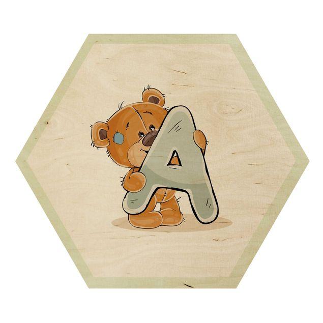 Hexagon-Holzbild - Wunschbuchstabe Teddy Junge