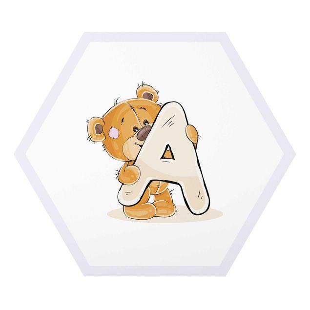 Hexagon-Forexbild - Wunschbuchstabe Teddy Mädchen