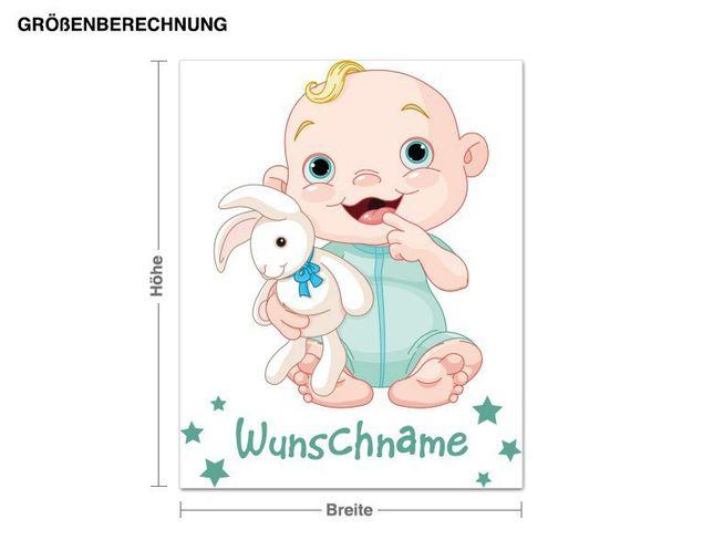 Wunschtext-Wandsticker Junge mit Kuschelhäschen