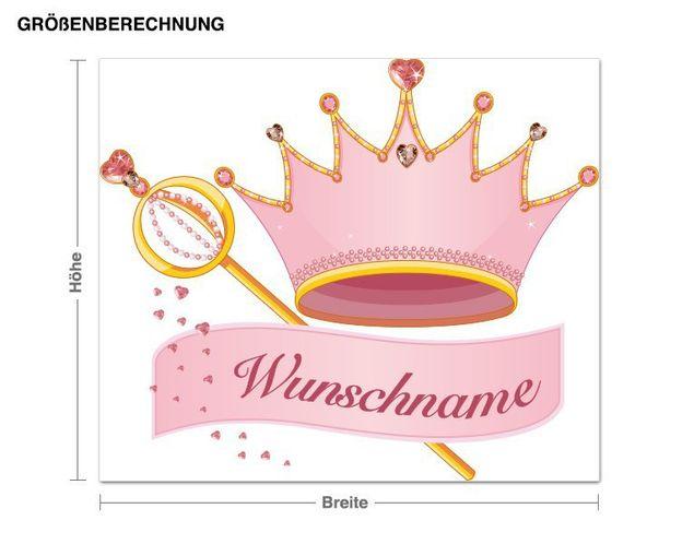 Wunschtext-Wandsticker Krone und Zepter
